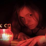 фотосессия, красное и черное, девушка, огонь, свеча